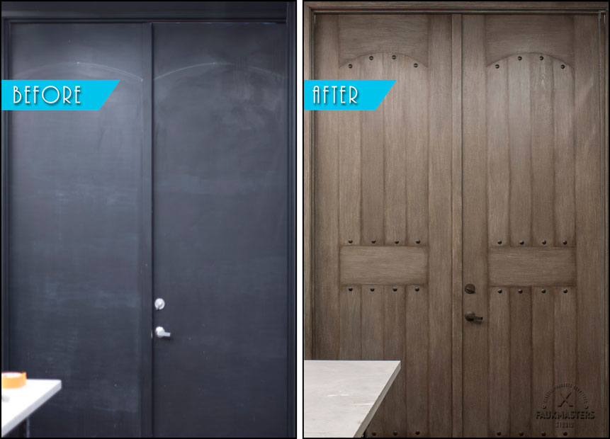 faux finishing doors before and after